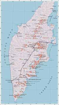 Интерактивная карта вулканов Камчатки